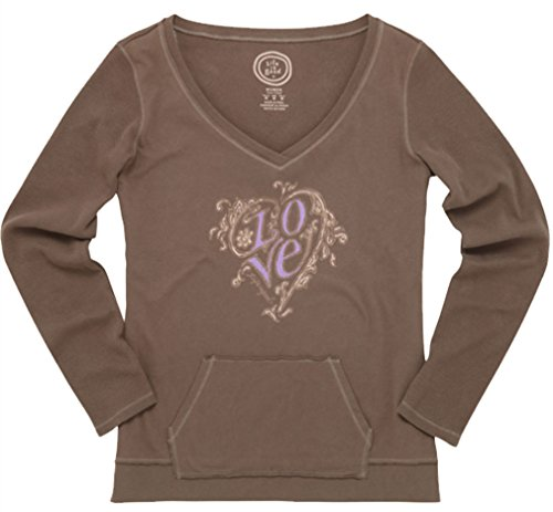 Life is Good Damen Cremige Vee Gerippter Love Herz Long Sleeve Tee dunkelbraun