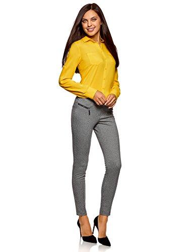 oodji Ultra Damen Viskose-Bluse Basic Gelb (5100N)