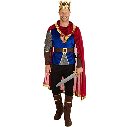 TecTake Herrenkostüm König | Langarmshirt mit Wappen-Aufdruck | Bequeme Hose | inklusive Stiefel- und Armstulpen - Herren Narr Kostüm