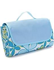 ULTNICE Alfombra de Picnic Manta Impermeable al Aire Libre Con Bolsa - Flor Azul