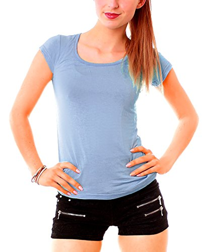 Easy Young Fashion Damen Basic T-Shirt Rundhals Slim Fit Einfarbig Hellblau