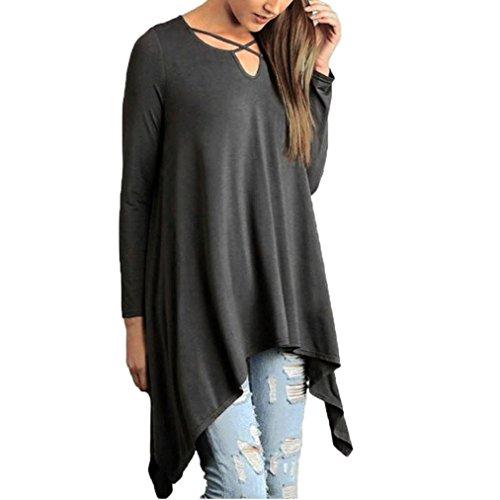 Damen Bluse Dasongff Frauen Asymmetrisch T-Shirt Lose Langarmshirt V-Ausschnitt Tunika Shirt Große Bluse Oberteil Tops Blusen Plus Größe L~4XL (Grau, L)
