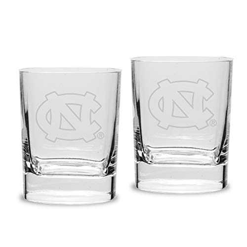 NCAA North Carolina Tar Heels Luigi Bormioli Square Round Double Old Fashion Glass - Set of 2, Clear, 11.75 oz - Carolina Double Old Fashioned