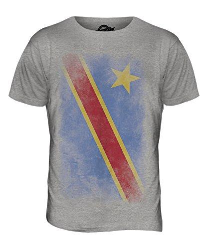 CandyMix Demokratische Republik Kongo Verblichen Flagge Herren T Shirt Grau  Meliert