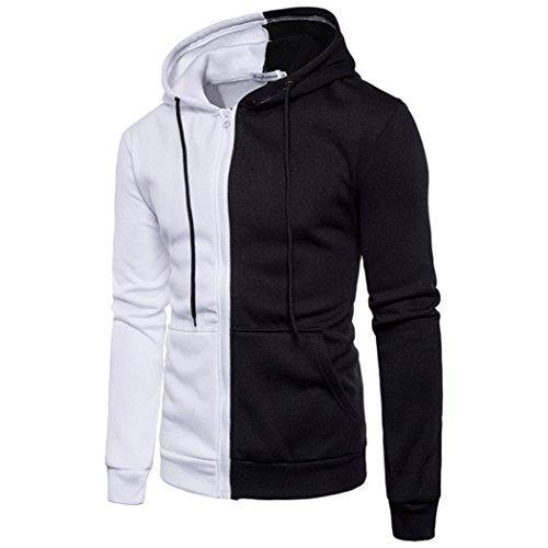 Hoodie Männer Herren Sport Casual Pullover Langarmshirts Nähen Reißverschluss Mantel GreatestPAK,Weiß,XXL (Gap Jacke Mädchen)