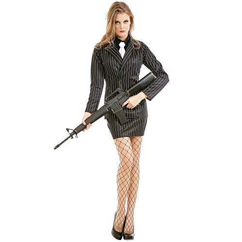 Boo Inc. Dangerous Dame Damen Halloween-Kostüm, klassisch, 1920er-Jahre-Gangster-Outfit - Schwarz - (Bonnie Und Clyde Kostüm Für Paare)
