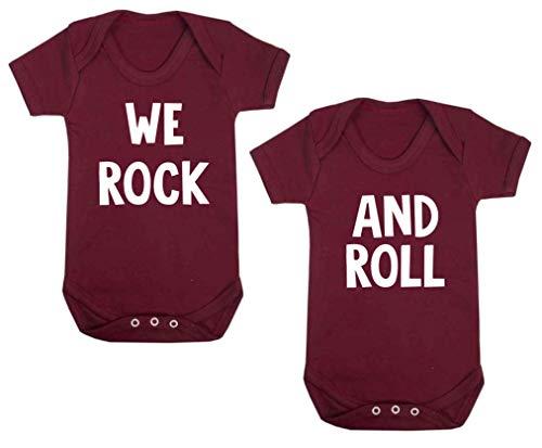 Wir Rock und Roll Twin Set Baby Westen Strampler Body Einteiler Baby Dusche Geschenke Funny Maroon (6–12Monate)