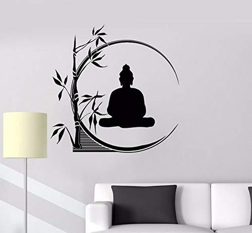 Lvabc 42X42 Cm Buddha Meditation Wandtattoos Kreis Yoga Reed Buddhismus Wandaufkleber Für Yoga Studio Abnehmbare Kunstwandhauptdekoration