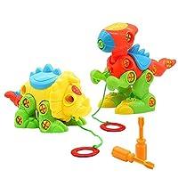 Symiu Pull Along Dinosaur Toys Take Apart Dino Figures Puzzle Games Assemble Blocks Building Construction Toys for Kids Boys Girls Age 3 4 5 Years Old (Tyrannosaurus & Monoclonius)