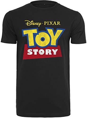 MERCHCODE Herren Toy Story Logo T-Shirt, Black, L (Story Woody Toy Shirt)