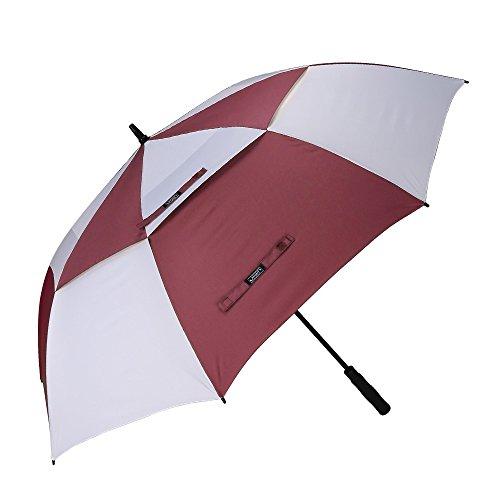 G4Free - Ombrello da golf automatico, 157,5 cm, extra large, a doppia cupola, impermeabile e a prova di vento, Red / White