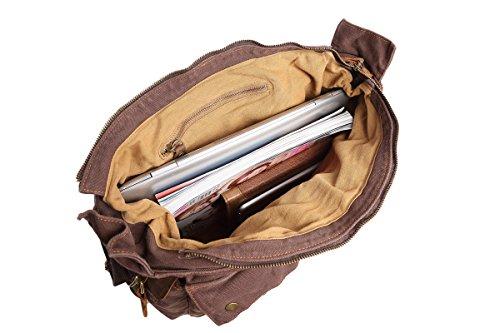 Sulandy - Borsa a tracolla, in tela, stile vintage, grande, unisex, bordi in pelle, per scuola, militari, army green(medium), L coffee(large)