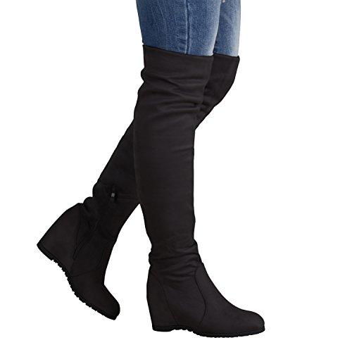 Gefütterte Damen Stiefel Overknees Keilabsatz Boots 76960