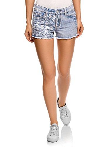 Oodji ultra donna shorts in jeans con ricami, blu, w25 / it 38 / eu 25