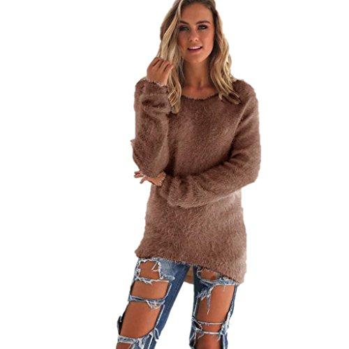 Amlaiworld Sweatshirts Winter bunt plüsch locker pullis Damen komfortabel Sport Sweatshirt warm flauschig Lang Pullover (Braun, M) - Creme Plüsch