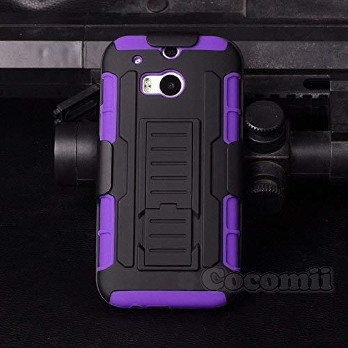 Cocomii Robot Armor HTC One M8/M8s Hülle [Strapazierfähig] Erstklassig Gürtelclip Ständer Stoßfest Gehäuse [Militärisch Verteidiger] Ganzkörper Case Schutzhülle for HTC One M8 (R.Purple)