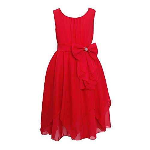 LSERVER Mädchen Sommer Kleid mit 'Schleife'-Deco, Rot, Gr. 98( Herstellergröße: 100)