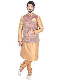 Manyavar Men's Fawn Full Sleeve Regular Fit Textured Kurta Paired with Churidar & Designer Nehru Jacket