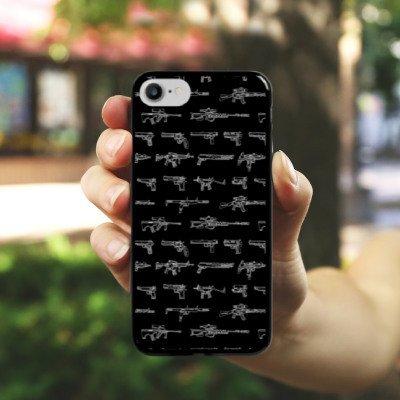 Apple iPhone X Silikon Hülle Case Schutzhülle Pistole Knarre Zeichnung Hard Case schwarz