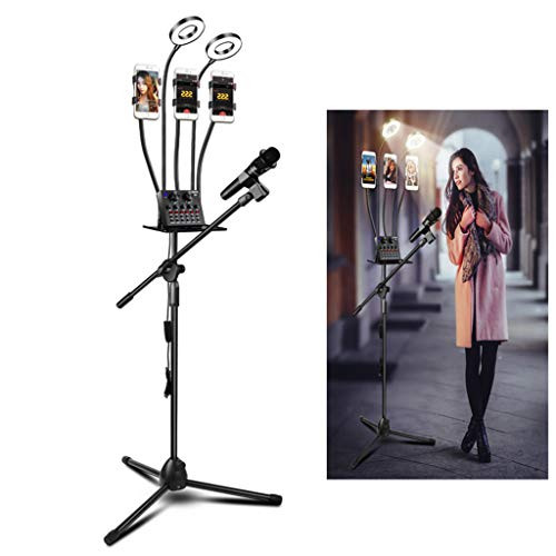 HULYZLB LED Selfie LichtLED Selfie Ring Light Stand mit 3 Handyhalter & Mikrofonhalter für Live Stream/Makeup/YouTube Video Beauty Fill Light - Drehbaren Buch Stand