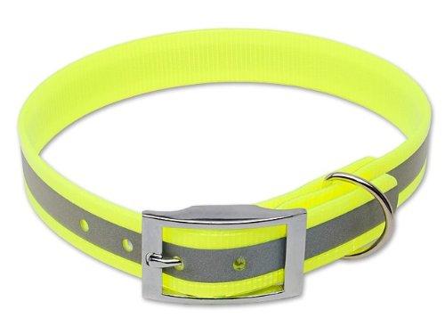 Mystique® Biothane Halsband Deluxe Hundehalsband 45-53cm / 25mm reflex gelb -