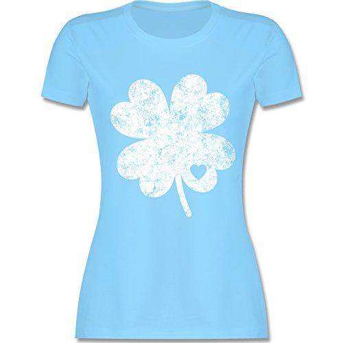 Shirtracer St. Patricks Day - Vintage Kleeblatt mit Herz - Damen T-Shirt Rundhals Hellblau