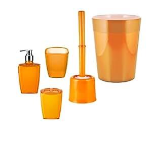 Ridder 229905140 350 neon set di accessori bagno 5 pezzi colore arancione casa - Amazon accessori bagno ...