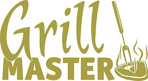 Graz Design Wandtattoo Küchen-Spruch Grillmaster Steak | Aufkleber für Draußen auf Grill | Top Geschenk für Männer | Für Grill-Partys | klebt auf Metall - Holz - Glas - Möbel - Tischen (55x30cm // 826 oasis)