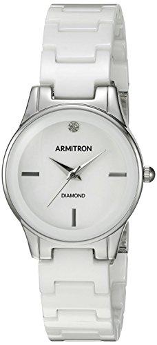 Armitron 75/de la Mujer 5348wtsv Diamond-Accented y Plateado Pulsera de cerámica Color Blanco Reloj