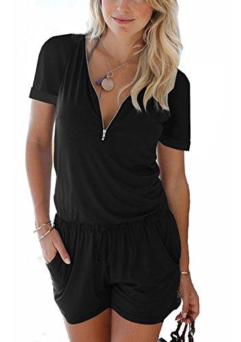 Cassiecy Jumpsuits Damen Kurz Sommer V-Ausschnitt Playsuit mit Reißverschluss Overalls Hose Elegant Strandkleidung(z_Schwarz,L) -