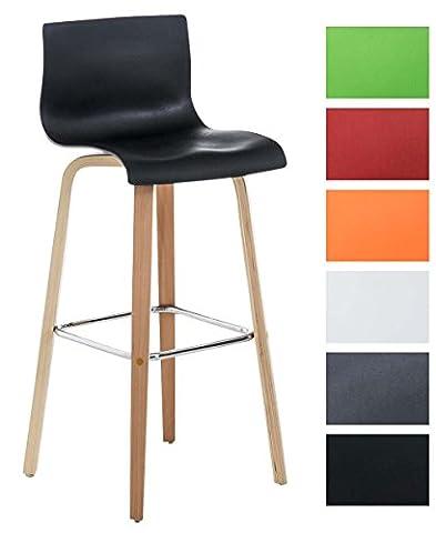 CLP Tabouret de bar MALONE avec dossier, piètement à 4 pieds en bois, hauteur de l'assise 74 cm, appui-pieds, siège en matière plastique noir