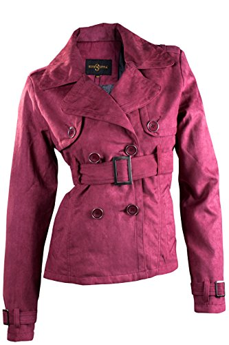 CATWALK DAMEN JACKE ÜBERGANGSJACKE WILDLEDERIMITAT TRENCHCOAT MANTEL S M L XL, Farbe:Rosa;Größe:S (Mantel Trench Mäntel Jacke Leder)