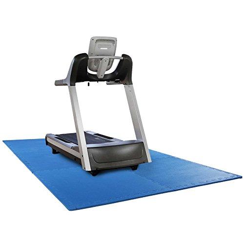 Schutzmatten Set mit 6 Puzzlematten 6 Steckelementen á 60 x 60 x 1,2 cm (2,2m²) - Unterlegmatten Multifunktionsmatte Bodenschutz z.B. Spining-Fahrräder,Crosstrainer, Laufband oder Hantelbank blau
