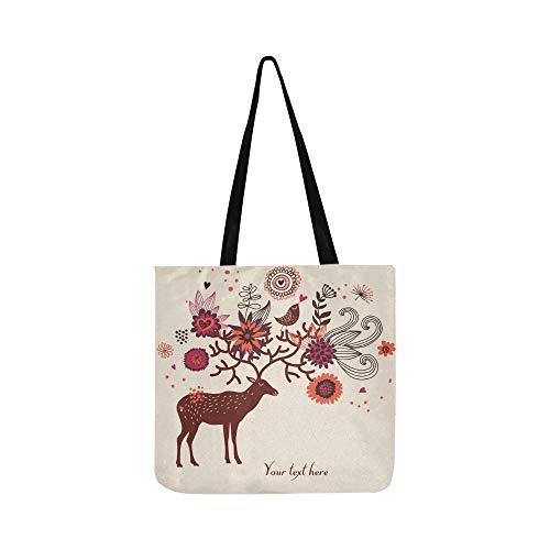 C Artoon Deer Blumen Leinwand Tote Handtasche Schultertasche Crossbody Taschen Geldbörsen Für Männer Und Frauen Einkaufstasche (Artoon C)
