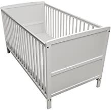 Kinder Valley Solid Pine Wood 2-in-1 Junior Cot Bed, White, 144 x 76 x 80 cm