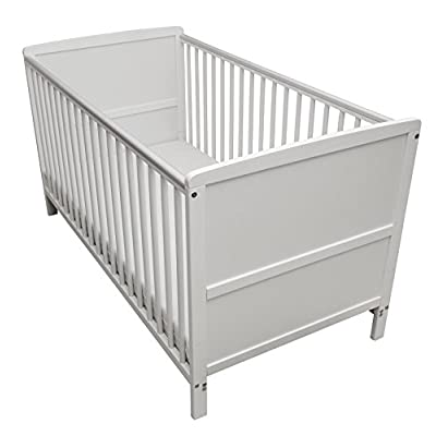 Kinder Valley Solid Pine Wood 2-in-1 Junior Cot Bed, White, 144 x 76 x 80 cm  Vladon