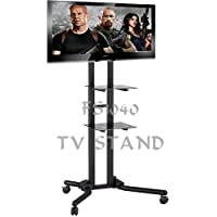 "TS1040 2m-tall Exhibition Display Stand TV Trolley Floor Stand w/ Mounting Bracket for 40-60"" LCD/Plasma TVs & Two Black Glass Shelves, Tilt up/down 5 / 10 °, Adjustable height: 146 to 206cm, Up to Vesa 800x400 mm"