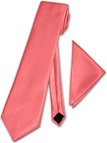 Herren Krawatte klassisch mit Einstecktuch Klassik Anzug Satinkrawatte - 30 Farben (Koralle)