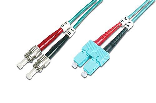 Sc Duplex 3m (DIGITUS LWL Patch-Kabel OM3 - 3 m ST auf SC Glasfaser-Kabel - LSZH - Duplex Multimode 50/125µ - 10 GBit/s - Türkis)