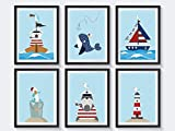 Kinderzimmer Poster maritim - 6 A4 Kinderposter Set - optional mit Bilderrahmen