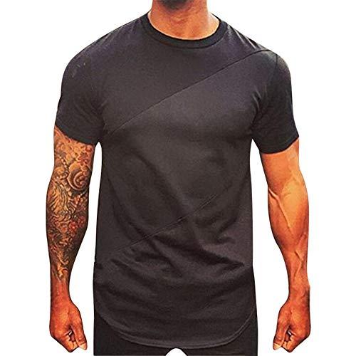 Fenverk Herren Business Unterhemden Kurzarm Shirt Super-Weich Micro Unterhemd O-Ausschnitt T-Shirt Rundhals Anti-Geruch(Schwarz,L)