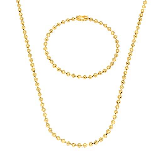 Sfera di 3mm Placcato Oro Catena e bracciale Set, placcato oro, colore: Gold, cod. GL-069CS-24-7 - Overlay Dog Tag