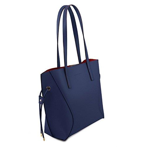 Tuscany Leather Nemesi Borsa shopper in pelle Grigio Blu scuro