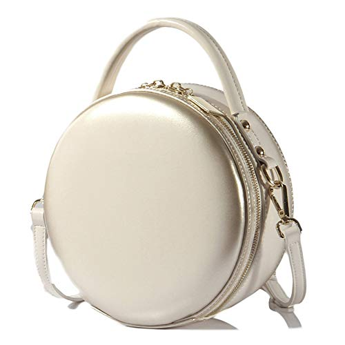 GBRALX Frauen aus echtem Leder Umhängetaschen Handtasche Runde Reißverschluss-Schultertaschen Kleine Mini Kreis Lederband Büro Umhängetasche,White-19cm*9cm*19cm