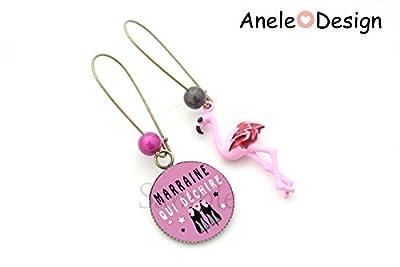 Boucles d'oreilles Cadeau pour marraine - flamant rose