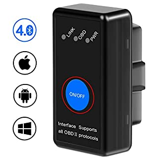 kungfuren OBD2 Bluetooth 4.0 Adapter für iPhone IOS und Android, OBD2 Diagnosegerät Scanner, Mini KFZ OBD Pro, OBD II Diagnosewerkzeuge Auto Code Reader