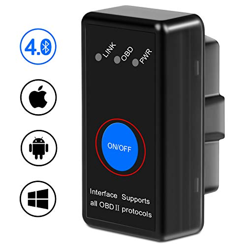 kungfuren OBD2 Bluetooth 4.0 Adapter für iPhone IOS und Android, OBD2 Diagnosegerät Scanner, Mini KFZ OBD Pro, OBD II Diagnosewerkzeuge Auto Code Reader   (Obd Scanner Abs)
