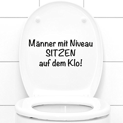Grandora WC Aufkleber Männer mit Niveau sitzen auf dem Klo II Badezimmer Toilette Sticker Wandsticker Wandaufkleber Wandtattoo W5495
