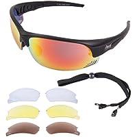 Rapid Eyewear 'Rio' LUNETTES De SOLEIL SPORT FEMMES avec verres interchangeables polarisée. Lunettes solaires UV400 pour avec lentilles de miroir violettes. Pour conduire, skier, course à pied etc.