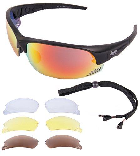 Rapid Eyewear Edge Schwarz RADSPORT UND LAUFEN BRILLE. Rad Sonnenbrille mit Polarisierte Verspiegelt Wechselgläsern. Fahrradbrille Für Damen und Herren. UV Schutz 400